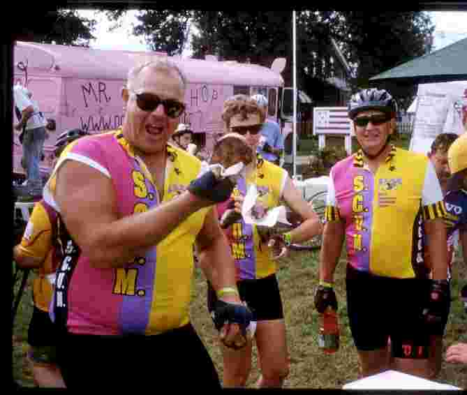 RAGBRAI-29, TEAM SCUM eating pork chops
